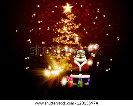 Illustration of Santa Claus congratulate against christmas tree of stars.