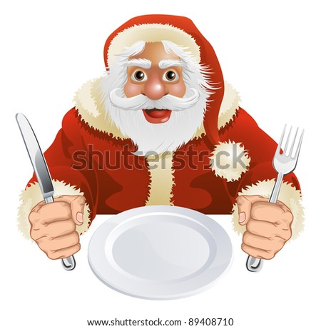 Illustration of Santa Claus seated for Christmas Dinner with empty plate and knife and fork