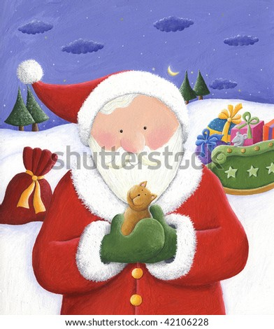Illustration of Santa holding a little cat in his hands