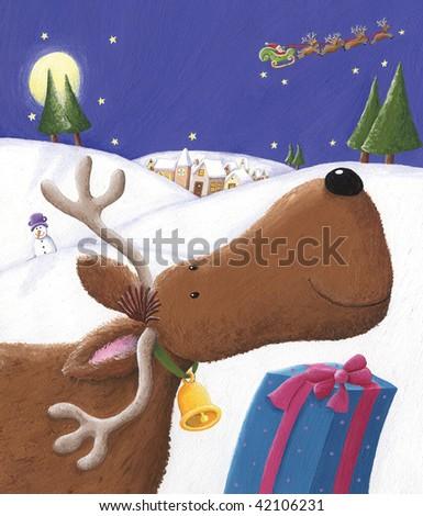 Illustration of Santa's deer