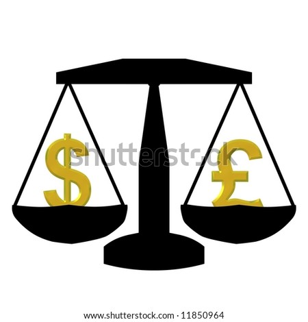 Illustration of scales holding a dollar and pound symbol - stock photo