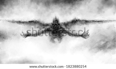 Illustration of scary flying vampire with wings. Fantasy drawing for creepy Halloween. Black and white horror genre picture. Spooky face of beast from nightmares. Grunge, coal and noise effects. Stock photo ©