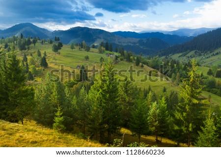 Illustration of scenic Karpaty mountains on Bucovina in Romania. #1128660236