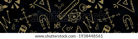 Illustration of science education with elements from school and laboratory life in a fun doodle style that symbolize education and science studies in academia, colleges and high schools Foto stock ©