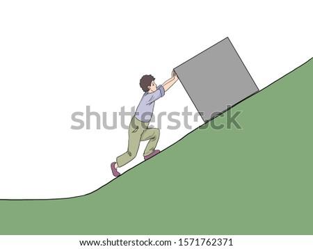 illustration of  science lesson subject, image of a man showing pushing force.  force one person  using push  force to move assets. tr:( newton hareket yasası, eğik  düzlemde cisme kuvvet uygulayan) Stok fotoğraf ©