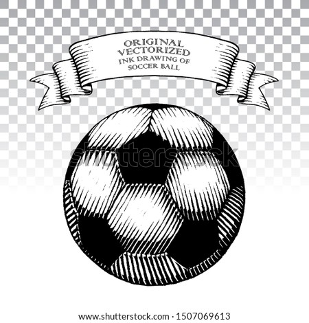 Illustration of Scratchboard Style Ink Drawing of Soccer Ball