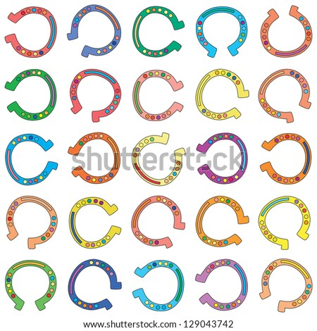 Illustration of seamless background made from colorful cartoon horseshoes