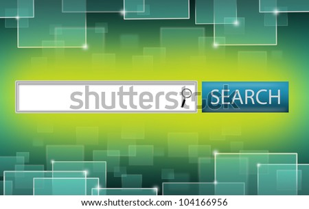 Illustration of Search Engine Bar and Finder Lens on Yellow Green Background. Glowing Technology Squares on Upper and Lower Sides.