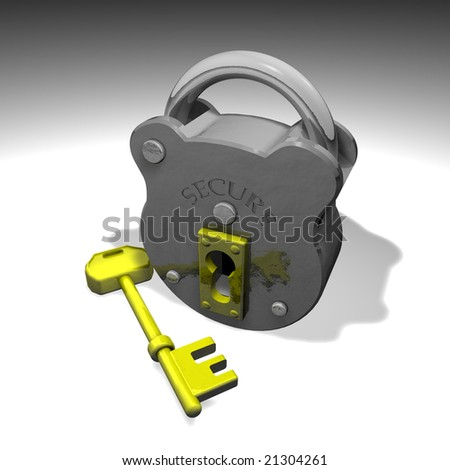 Illustration of secure lock and key