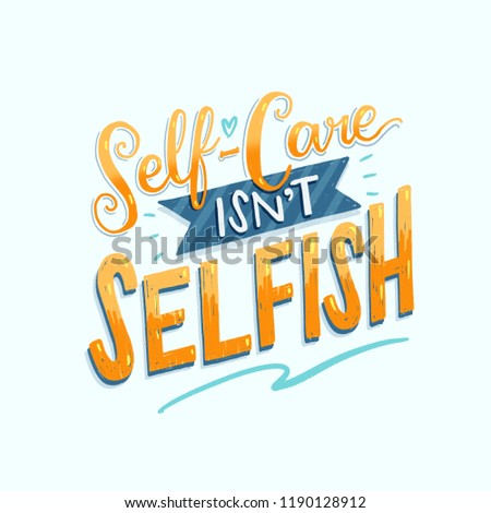Illustration of self-care lettering poster