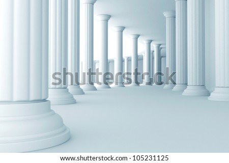 illustration of series of pillars in corridor