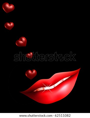 Illustration of sexy lips and hearts on black background