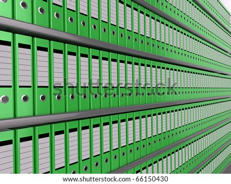 Illustration of shelves of neatly organised green files