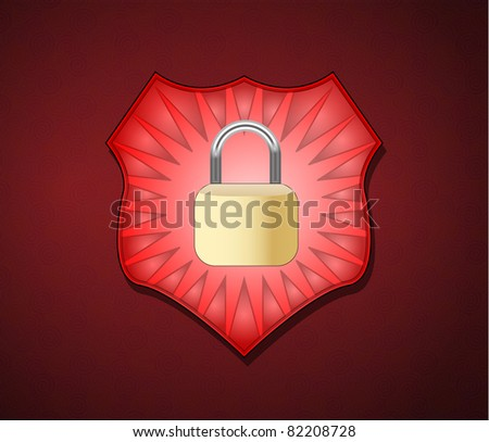 Illustration of shield with lock for security