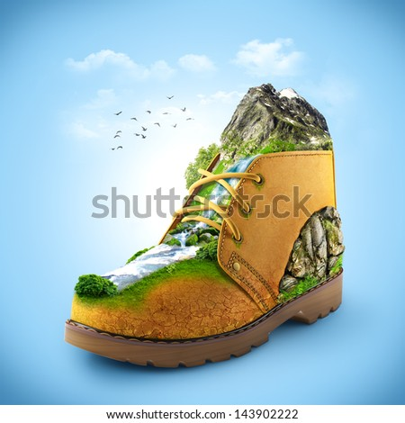 illustration of shoe with mountain and river. traveling