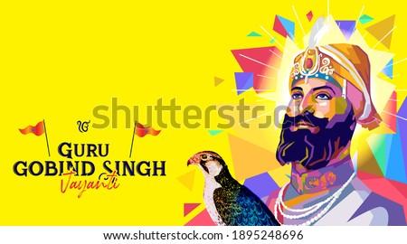 illustration of Sikh Guru gobind singh jayanti, Celebration holiday
