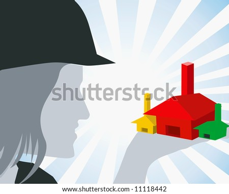 Illustration of silhouette of a lady engineer holding three houses in hand