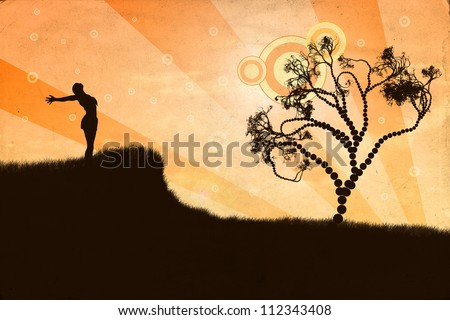 Illustration of silhouette of woman with open arms