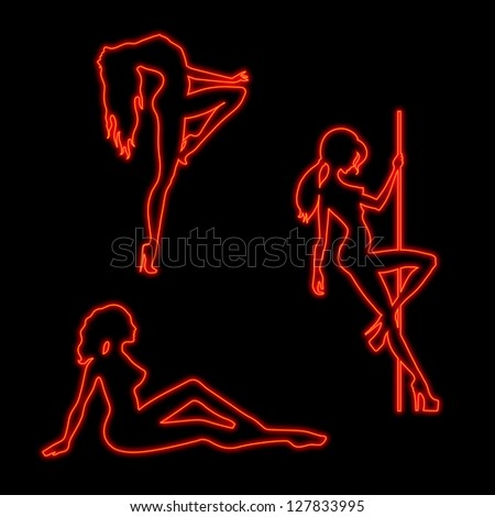 Illustration of silhouettes pole dancers sexy girls in neon light. Raster version of vector file