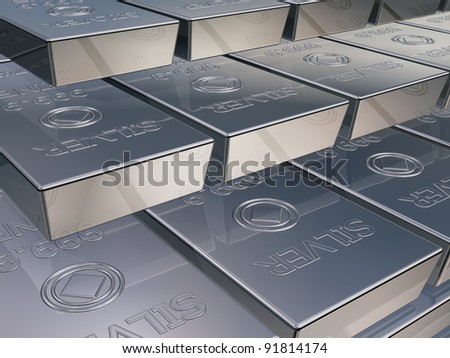 Illustration of silver reserves piled high in a stack