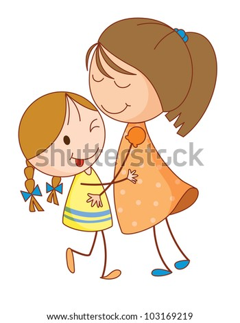Illustration of 2 sisters embracing - EPS VECTOR format also available in my portfolio.