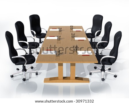 Illustration of six chairs around a table ready for a meeting