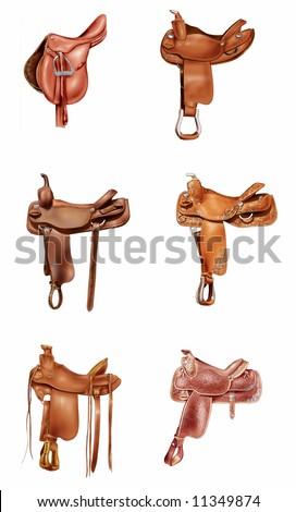 Illustration of six horse saddles - stock photo
