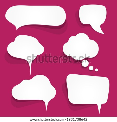 illustration of six white speech bubbles with shadows on colored background and free space for text Photo stock ©