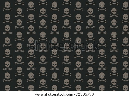 illustration of skull and bone pattern on the black background