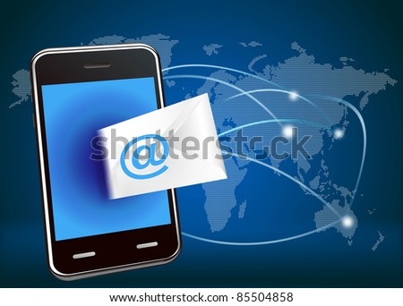 illustration of smart phone email on global network background