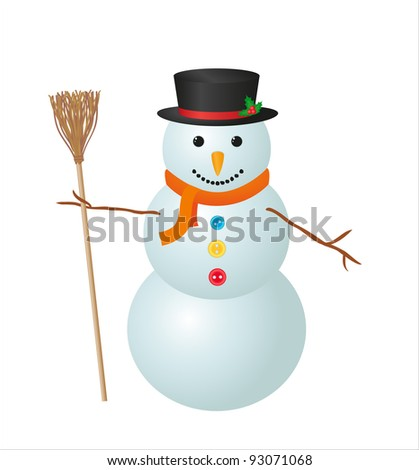 Illustration of snowman isolated on white background