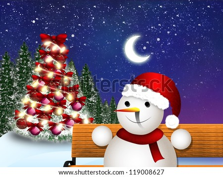Illustration of snowman sitting on a bench at night time.