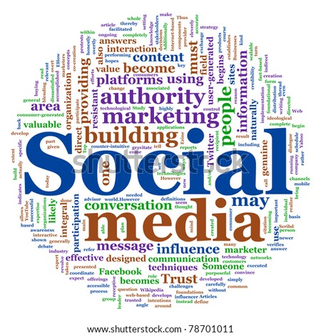 Illustration of social media concept. Social Media Wordcloud in circular shape