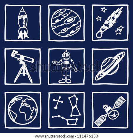 Illustration of space and astronomy icons - hand drawn pictures
