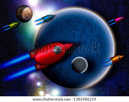 Illustration of Spacecraft leaving the Solar System