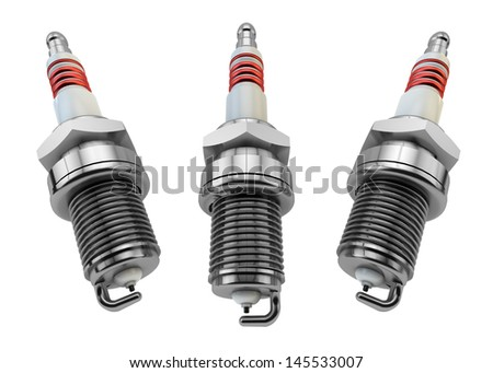Illustration of Spark plugs isolated in white background / Spark Plugs