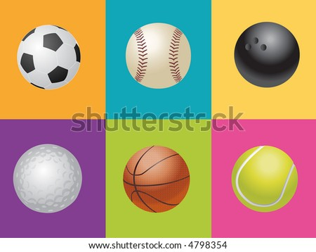 illustration of sport balls in colorful boxes