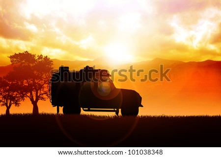 Illustration of sport utility vehicle (SUV) on off road - stock photo