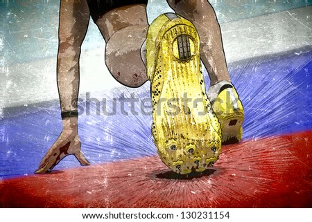 Illustration of sprinter on russia flag surface  in start position