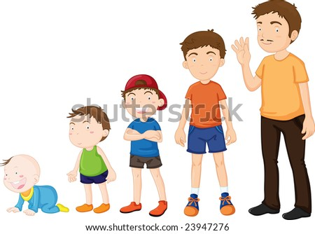 Illustration of stages of growing up from baby to man