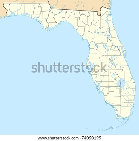 Illustration of state of Florida in America map showing borders.