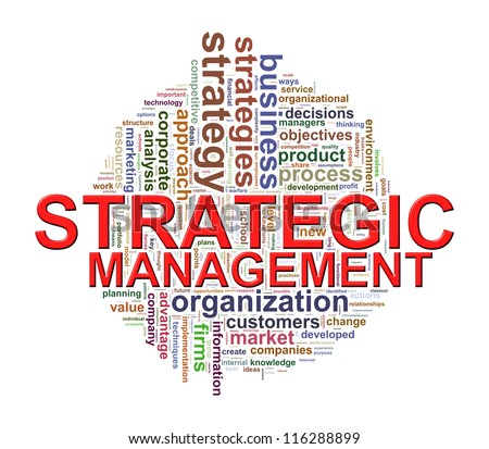 Illustration of strategic management Wordcloud word tags