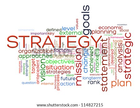 Illustration of strategy wordcloud word tags