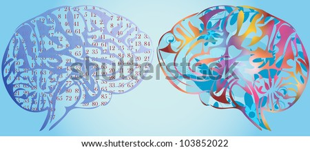 Illustration of stylized colored human brain