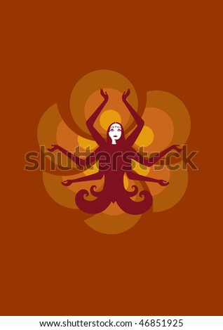 illustration of stylized fairy Indian woman , seating in lotus pose on the sunny, flower background