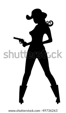 illustration of stylized silhouette of cowgirl with gun