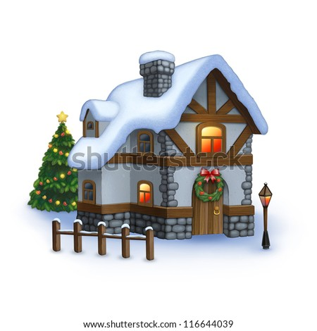 Illustration of sweet home with christmas decoration