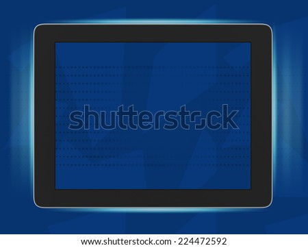 illustration of tablet framed blue light lines