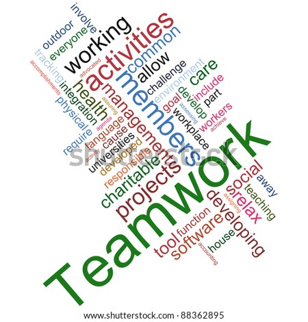 Illustration of teamwork wordcloud on white background