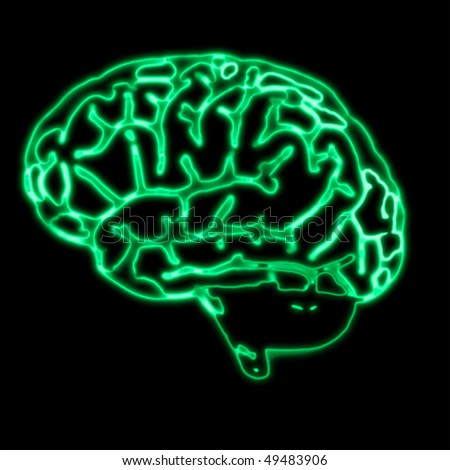 illustration of the abstract green brain scan
